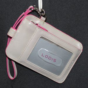 Lodis Taupe & Pink Leather Badge and/or ID Holder